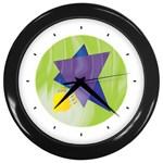 Jewish Star Menora Wall Clock (Black)