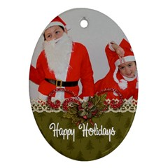 Oval Ornament (two Sides) Christmas2 By Jennyl   Oval Ornament (two Sides)   Wqiaigg2zvdy   Www Artscow Com Front