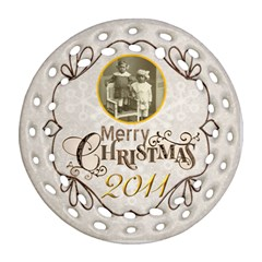 Merry Christmas 2011 Double Sided Filigree Ornament By Catvinnat   Round Filigree Ornament (two Sides)   Rhiov8y47z8h   Www Artscow Com Front