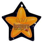 Happy Holidays 2011 double sided star ornament - Star Ornament (Two Sides)