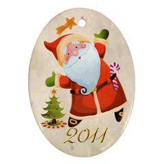 Santa Merry Christmas 2011 Oval Double Side Ornament By Catvinnat   Oval Ornament (two Sides)   Ik57a3x8rk8b   Www Artscow Com Front