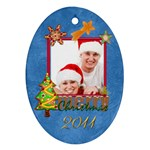 Merry Christmas Cookie 2011 Double Sided Oval Ornament - Oval Ornament (Two Sides)