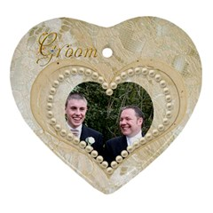 Bride & Groom Heart Double Sided Ornament By Catvinnat   Heart Ornament (two Sides)   0p6l9ht7gyxv   Www Artscow Com Back