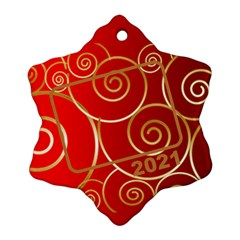Red And Gold 2017 Snowflake (2 Sided) By Deborah   Snowflake Ornament (two Sides)   05yyqhz4uuwb   Www Artscow Com Back