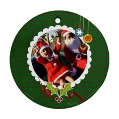 Round Ornament (two Sides): Holidays2 By Jennyl   Round Ornament (two Sides)   Yll9e05y73kx   Www Artscow Com Front