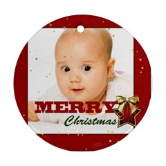 Christmas By Wood Johnson   Round Ornament (two Sides)   7agq91npjhfe   Www Artscow Com Front