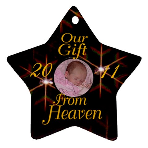 Black Star Gift From Heaven By Kim Blair   Ornament (star)   04cbez75mcvq   Www Artscow Com Front
