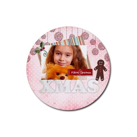 Christmas By Joely   Rubber Coaster (round)   76kiu3io3gze   Www Artscow Com Front