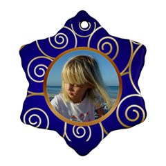 Blue And Gold Snowflake (2 Sided) By Deborah   Snowflake Ornament (two Sides)   Lo6kwy2joiv8   Www Artscow Com Front