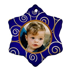 Blue And Gold Snowflake (2 Sided) By Deborah   Snowflake Ornament (two Sides)   Lo6kwy2joiv8   Www Artscow Com Back