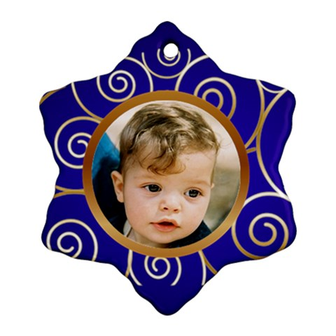 Blue And Gold Snowflake Ornament By Deborah   Ornament (snowflake)   M7sml5vy3no9   Www Artscow Com Front