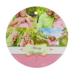 Happy Christmas By May   Round Ornament (two Sides)   Fm365fys2jsf   Www Artscow Com Front
