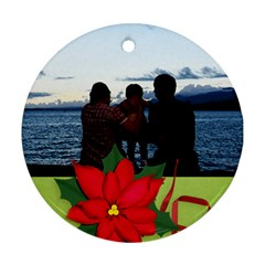 Round Ornament (two Sides) : Poinsettia By Jennyl   Round Ornament (two Sides)   Qhagj3cekf4e   Www Artscow Com Back