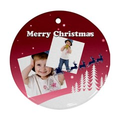Christmas By Wood Johnson   Round Ornament (two Sides)   Hp35g87suki1   Www Artscow Com Front