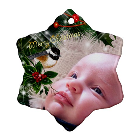 Merry Christmas Snowflake Ornament By Deborah   Ornament (snowflake)   8w0holjam7k8   Www Artscow Com Front