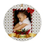 Christmas Ornament Oval (2 sided) White - Round Ornament (Two Sides)