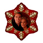 Red and Gold Snowflake Ornament (2 Sided) - Snowflake Ornament (Two Sides)