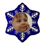 Blue and Silver Snowflake Ornament (2 sided) - Snowflake Ornament (Two Sides)