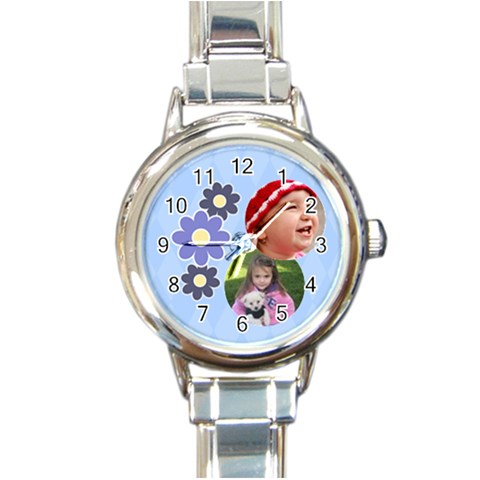Serenity Blue   Round Italian Charm Watch By Picklestar Scraps   Round Italian Charm Watch   Zgxhh9ftl7g4   Www Artscow Com Front