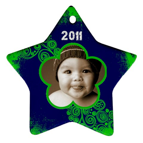 Scroll Upon A Star Lime And Cobalt 2011 Star Ornament By Catvinnat   Ornament (star)   9dc967y1j7yl   Www Artscow Com Front
