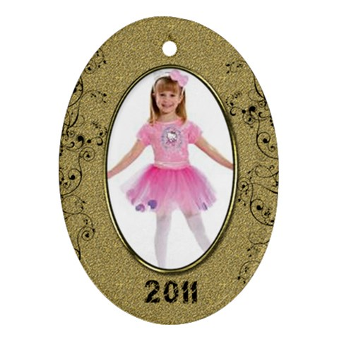 Gold Oval 2011 Ornament By Catvinnat   Ornament (oval)   I7iigwd0znkh   Www Artscow Com Front