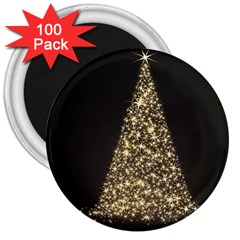Christmas Tree Sparkle Jpg 100 Pack Large Magnet (round)