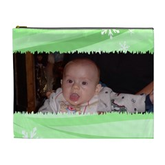 Green Torn Cosmetic Bag Xl By Kim Blair   Cosmetic Bag (xl)   4nqglmy48m7c   Www Artscow Com Front
