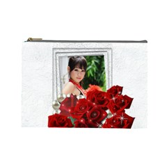 Framed With Roses (large) Cosmetic Bag By Deborah   Cosmetic Bag (large)   Ig02syklrlaf   Www Artscow Com Front