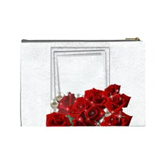 Framed With Roses (large) Cosmetic Bag By Deborah   Cosmetic Bag (large)   Ig02syklrlaf   Www Artscow Com Back