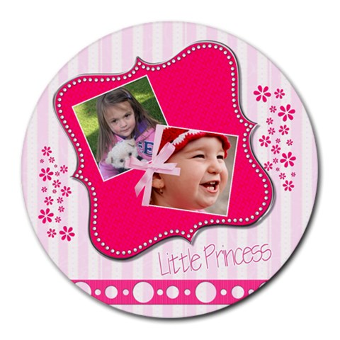 Little Princess   Collage Round Mousepad By Picklestar Scraps   Collage Round Mousepad   Blkrnu5qknsx   Www Artscow Com 8 x8 Round Mousepad - 1
