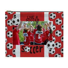 Live 4 Soccer/football  Cosmetic Bag (xl)  By Mikki   Cosmetic Bag (xl)   Qcq4u192ys15   Www Artscow Com Front