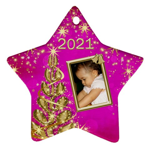 2016 Christmas Star Ornament Pink By Deborah   Ornament (star)   15pmjerad5p0   Www Artscow Com Front