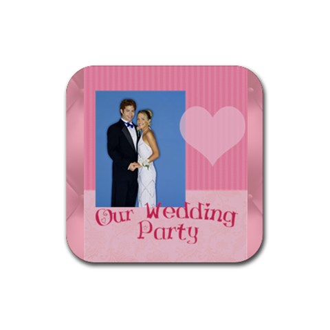 Our Wedding By Joely   Rubber Square Coaster (4 Pack)   3loe4hdqujn4   Www Artscow Com Front