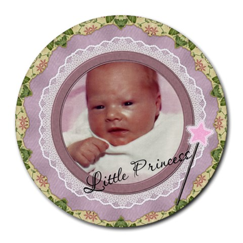 Little Princess Round Mousepad By Lil    Round Mousepad   7ujjluoweu85   Www Artscow Com Front