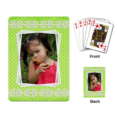 Little Girl Playing Cards By Deborah   Playing Cards Single Design   Ur45sjtihpoq   Www Artscow Com Back