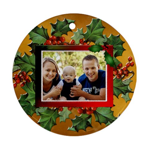 Christmas Berries Round Ornament (1 Sided) By Lil    Ornament (round)   Nepbg84x4aqq   Www Artscow Com Front
