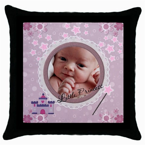 Little Princess Throw Pillow Case By Lil    Throw Pillow Case (black)   526pzypm0vwx   Www Artscow Com Front