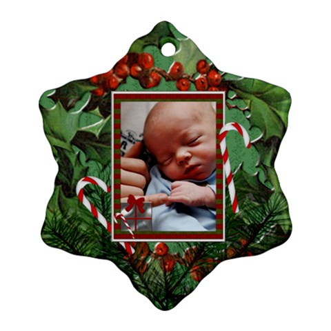 Christmas Candycane Ornament (1 Sided) By Lil    Ornament (snowflake)   Pp7zvdvjprwp   Www Artscow Com Front