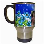 Blue fower Travel Mug - Travel Mug (White)