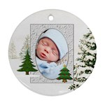 Christmas Tree Round Ornament (2 Sides) - Round Ornament (Two Sides)
