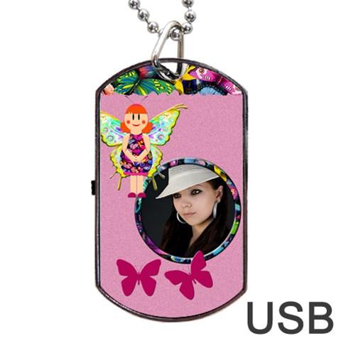 Fairy Pink Usb One Side By Carmensita   Dog Tag Usb Flash (one Side)   Wvubg3my0gwr   Www Artscow Com Front