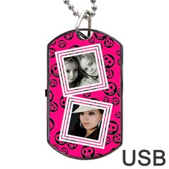 Pretty Skull  Usb 2 Sides By Carmensita   Dog Tag Usb Flash (two Sides)   4heusys5rle8   Www Artscow Com Front