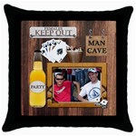 Man Cave Throw Pillow Case - Throw Pillow Case (Black)
