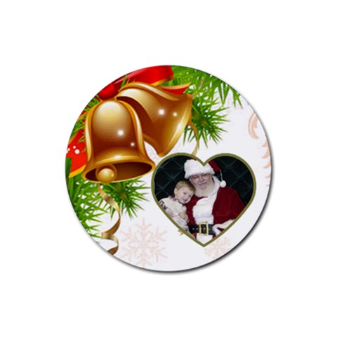 Christmas Bell Coaster By Deborah   Rubber Coaster (round)   Uawasnpd9nfa   Www Artscow Com Front