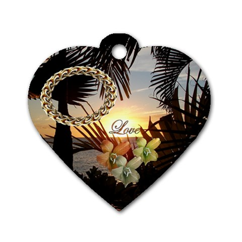 Palm Love Sunset Heart Dog Tag By Ellan   Dog Tag Heart (one Side)   Ccybr62ve4lo   Www Artscow Com Front