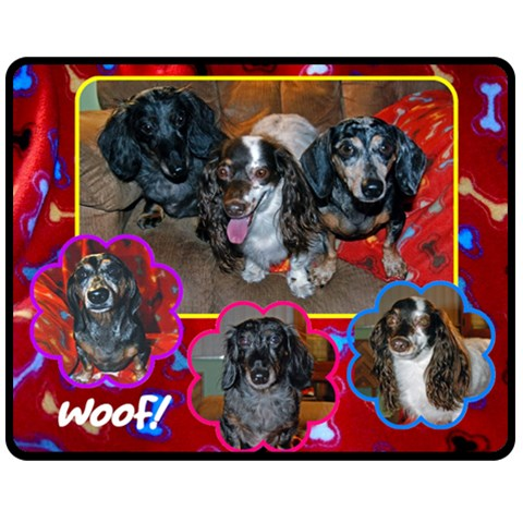 Janines Puppies By Barb Moore   Fleece Blanket (medium)   R5nz0fvzewr6   Www Artscow Com 60 x50 Blanket Front