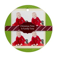 Christmas  By May   Round Ornament (two Sides)   Y5in9lrqhq05   Www Artscow Com Front