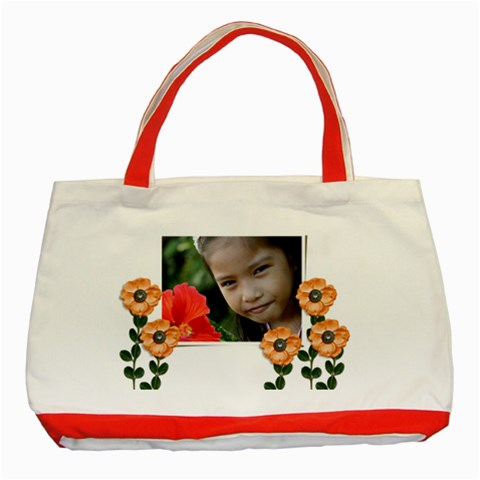 Classic Tote Bag: Orange Flowers By Jennyl   Classic Tote Bag (red)   9z1x58xz4m8s   Www Artscow Com Front