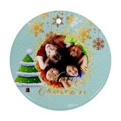 Xmas  By Wood Johnson   Round Ornament (two Sides)   71w73f8gsjre   Www Artscow Com Front
