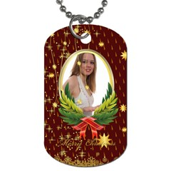 Merry Christmas By Wood Johnson   Dog Tag (two Sides)   Cvjyon3xzxdu   Www Artscow Com Front